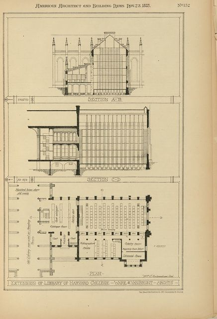 Extension of library of Harvard College. Ware and Van Brunt architects / Wm. C. RIchardson, del.