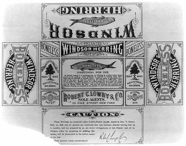[Folding box label for Windsor Boneless Herring, with illustration, cooking instructions, and patent warning]