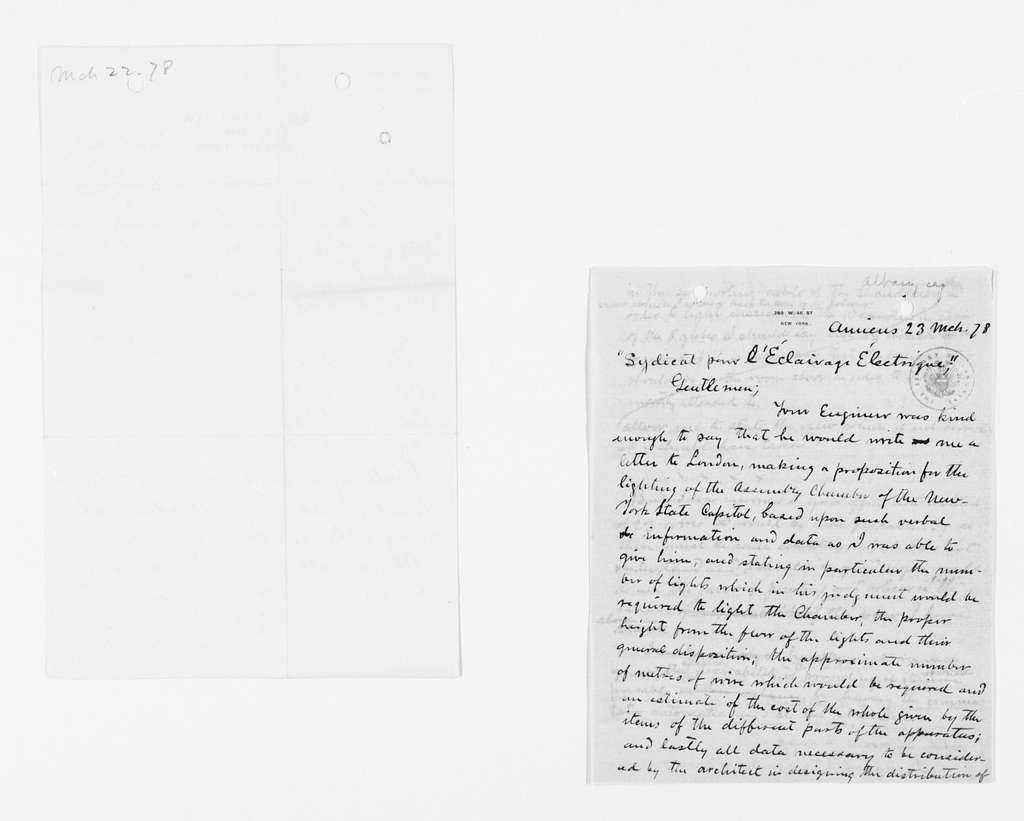 Frederick Law Olmsted Papers: Correspondence, 1838-1928; General Correspondence, 1838-1928; 1878, Mar.-June