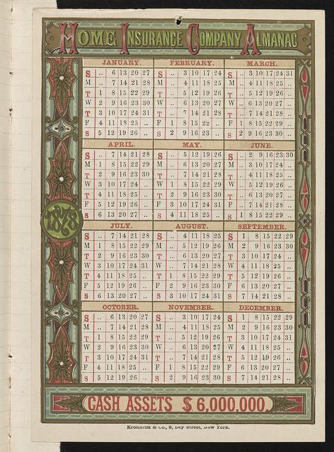 Home Insurance Company almanac, cash assets $6,000,000 / Kronheim & Co., 9 Dey Street, New York.