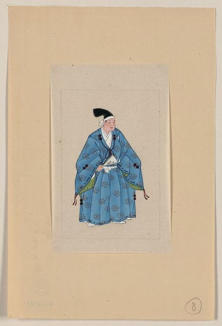 [Japanese man, full-length, standing, facing right, wearing robes of a nobleman, such as emperor or prince]