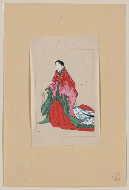 [Japanese woman, full-length, standing, facing left, wearing robes of a noblewoman, such as empress or princess; also shows custom of artificial eyebrows]