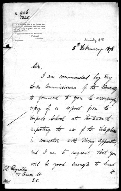 Letter from A. Hall to William H. Reynolds, February 5, 1878