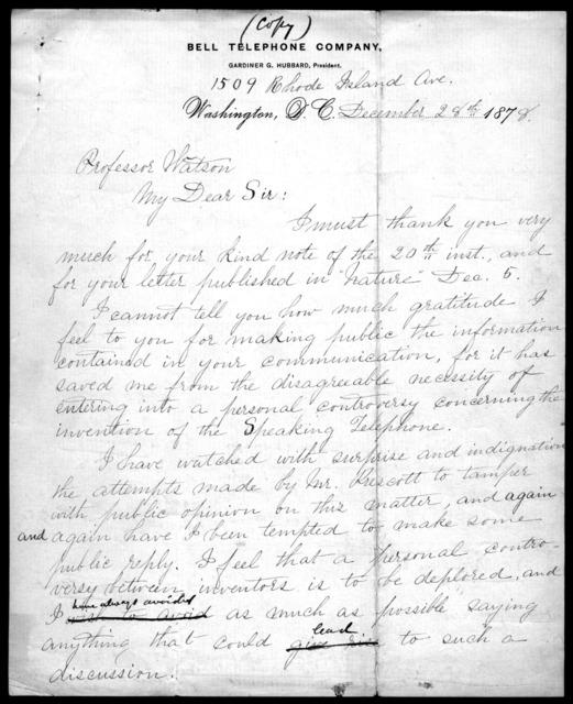 Letter from Alexander Graham Bell to James C. Watson, December 26, 1878