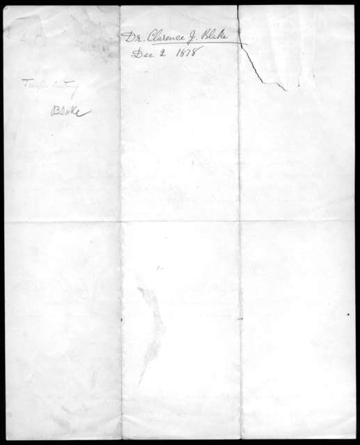 Letter from Buff & Berger to Clarence J. Blake, from December 2, 1878 to January 6, 1879