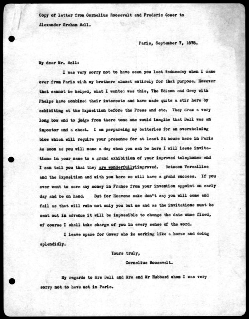 Letter from Cornelius Roosevelt & Frederic Gower to Alexander Graham Bell, September 7, 1878