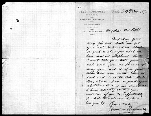Letter from Cornelius Roosevelt to Alexander Graham Bell, October 9, 1878