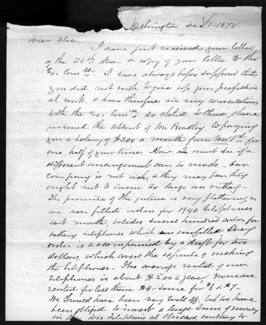 Letter from Gardiner Greene Hubbard to Alexander Graham Bell, December 1, 1878