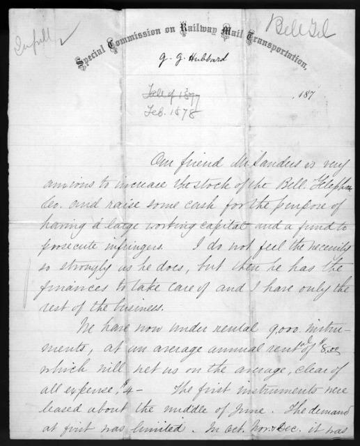 Letter from Gardiner Greene Hubbard to Alexander Graham Bell, February 1878