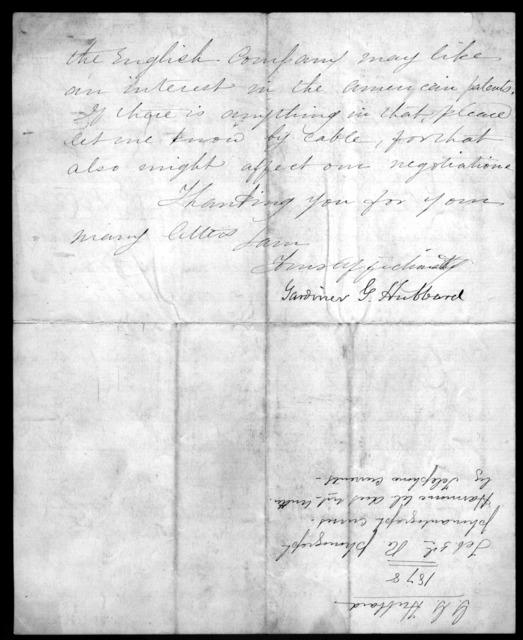 Letter from Gardiner Greene Hubbard to Alexander Graham Bell, February 5, 1878