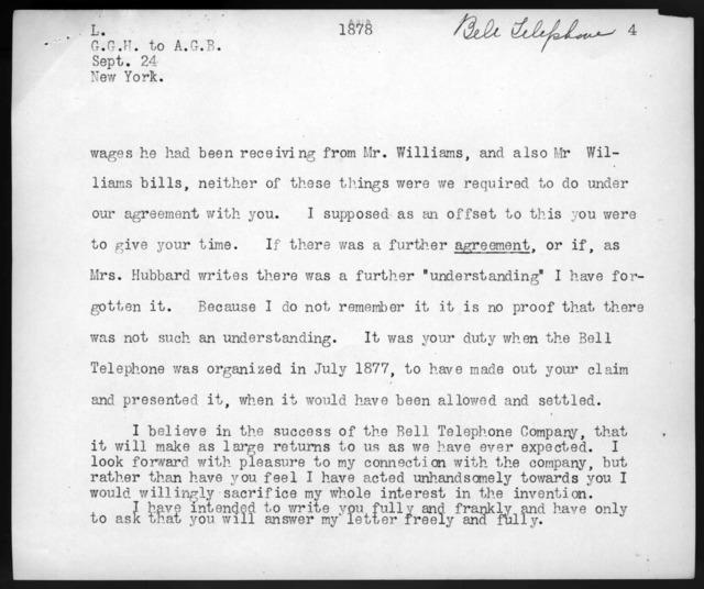 Letter from Gardiner Greene Hubbard to Alexander Graham Bell, September 24, 1878