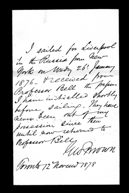 Letter from George Brown to Alexander Graham Bell, November 12, 1878