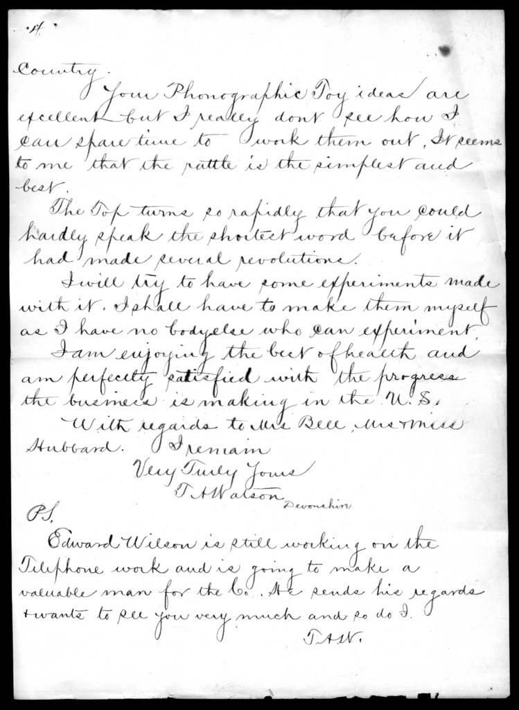 Letter from Thomas A. Watson to Alexander Graham Bell, August 30, 1878