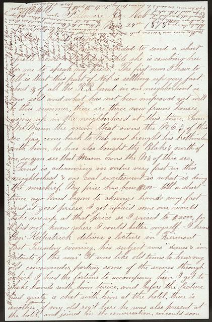 Letter from Uriah W. Oblinger and Mattie V. Oblinger to Thomas Family, March 24, 1878