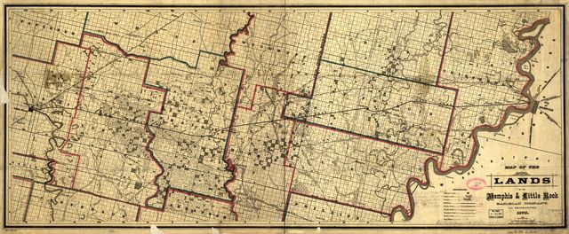 Map of the lands of the Memphis & Little Rock Railroad Company (as reorganized) 1878.
