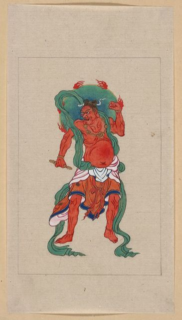 [Mythological Buddhist or Hindu figure, full-length, standing, facing front, with long green sash and flaming green halo behind his head]