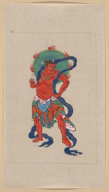 [Mythological Buddhist or Hindu figure, full-length, standing, facing right, with long blue sash and flaming green halo behind his head]