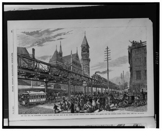 New York City--The development of rapid transit - the first train on the Gilbert Elevated Railroad passing through Sixth Avenue, near the Jefferson Market Police Court, April 29th