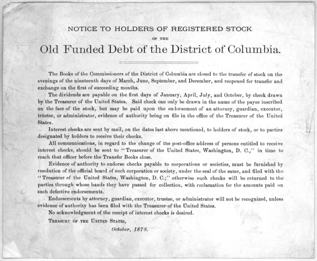 Notice to holders of registered stock of the old funded debt of the District of Columbia. Treasury of the United States. October, 1878.