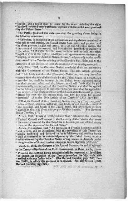 Objections of the delegation of the Cherokee nation to Senate bill No. 107 45th Congress. Washington, D. C. Jan. 12th, 1878.