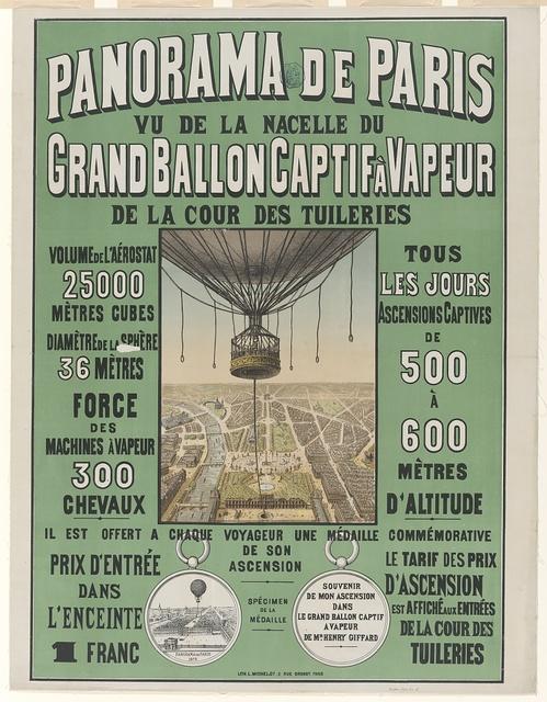 Panorama de Paris. Vu de la nacelle du grand ballon captif à vapeur de la cour des Tuileries