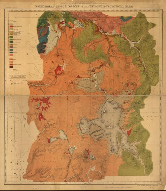 Preliminary geological map of the Yellowstone National Park.