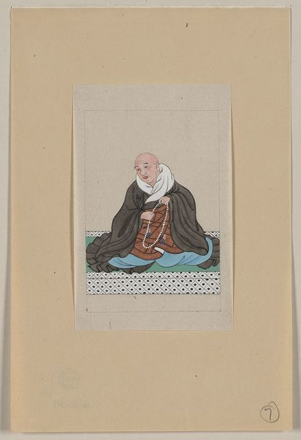 [Religious figure, probably a monk, seated, facing slightly left, holding a loop of prayer beads]