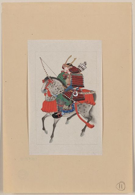 [Samurai on horseback, wearing armor and horned helmet, carrying bow and arrows]