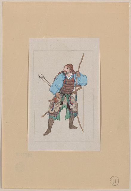 [Samurai, standing, facing left, wearing armor and holding a bow, also has arrows and a sword]