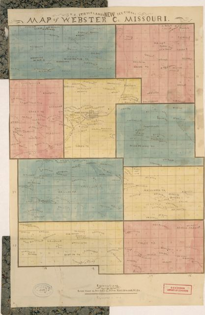 T.C. Strickland's new sectional map of Webster Co., Missouri.