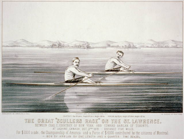 "The great ""scullers race"" on the St. Lawrence, between Chas. E. Courtney of New York and Edward Hanlan of Toronto"