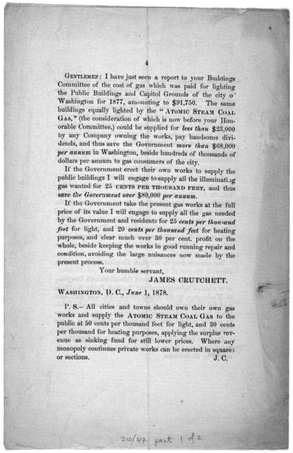 To the Honorable Congress of the U. S. now in session: Illuminating gas can now be supplied to the public by all gas companies at 50 cents per thousand feet, and gas for heating purposes at 30 cents per thousand feet by the Atomic steam coal pro