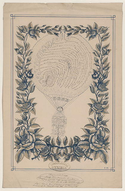 [Tribute to French ballonist Henri Giffard in the form of a handwritten French text shaped as a balloon, inside a printed floral border] / C.T. ; Clarey & Gibert, Tours.