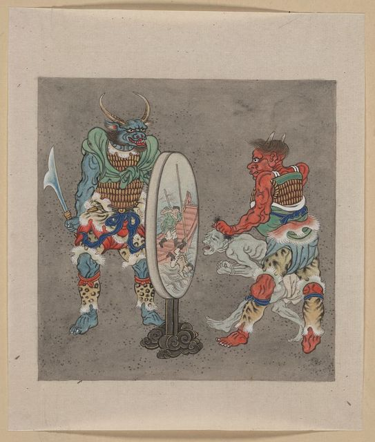[Two mythological Buddhist or Hindu figures, one holding a captive and showing him an image in a magic mirror of a man falling off a boat during a fight]