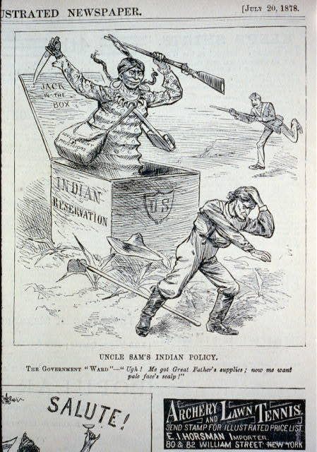 """Uncle Sam's Indian policy - the government """"ward"""" - """"Ugh! Me got great fatehr's supplies; now me want pale face's scalp"""" [caricature of armed Indian coming out of jack-in-the-box """"Indian reservation"""" and attacking a farmer, as soldier approaches from behind]"""