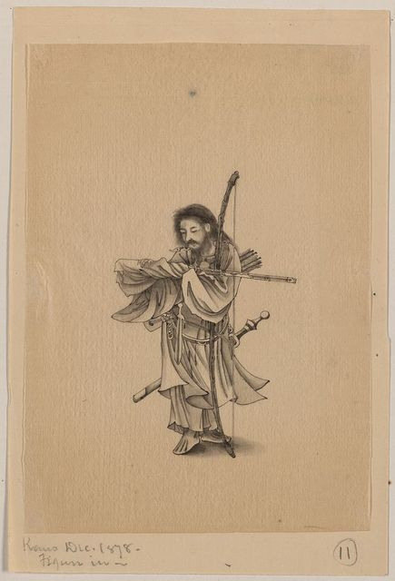[Warrior, full-length, facing left, with bow, arrows, and sword]