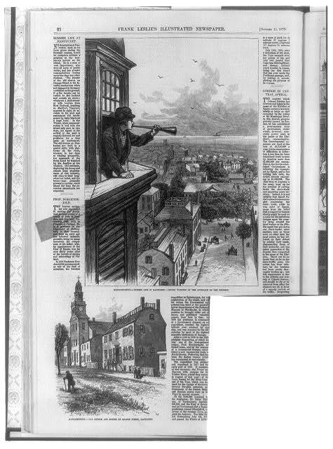 1. Massachusetts - Summer life in Nantucket - Giving warning of the approach of the steamer [man blowing horn from window]; 2. Massachusetts - Old church and houses on Orange Street, Nantucket