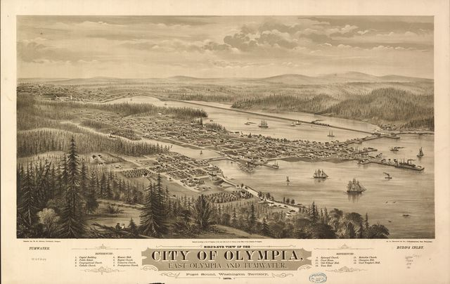 Bird's eye view of the city of Olympia, East Olympia and Tumwater, Puget Sound, Washington Territory, 1879.
