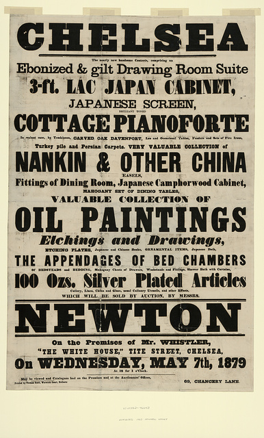 Chelsea, the nearly new handsome contents, comprising an ebonized & gilt drawing room suite ...