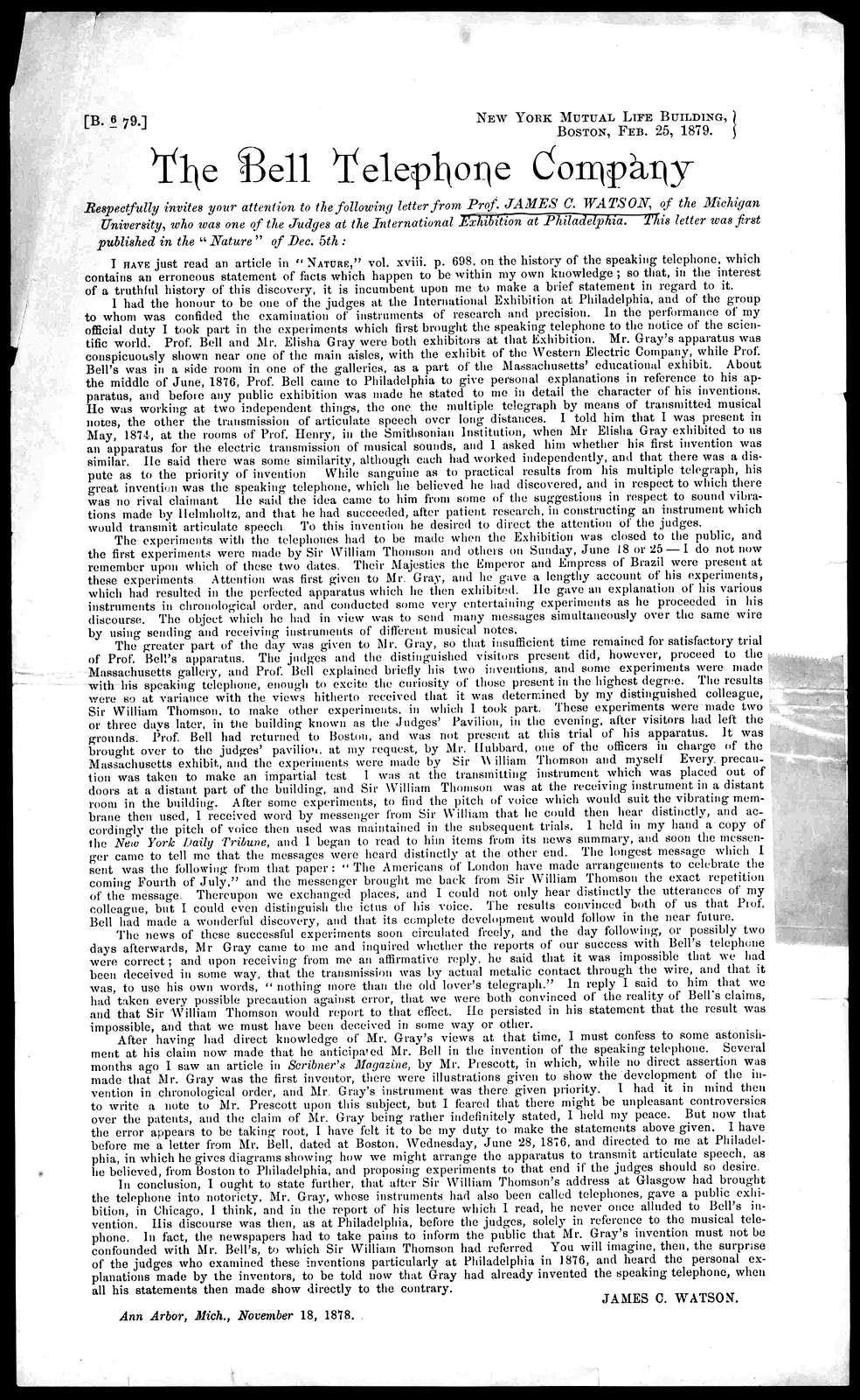 Circular by James C. Watson, February 25, 1879