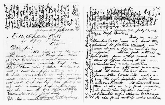 Clara Barton Papers: Miscellany, 1856-1957; Financial and legal papers; Real estate; Whitaker, Edward W., 1879-1884, undated, Whitaker, Edward W.