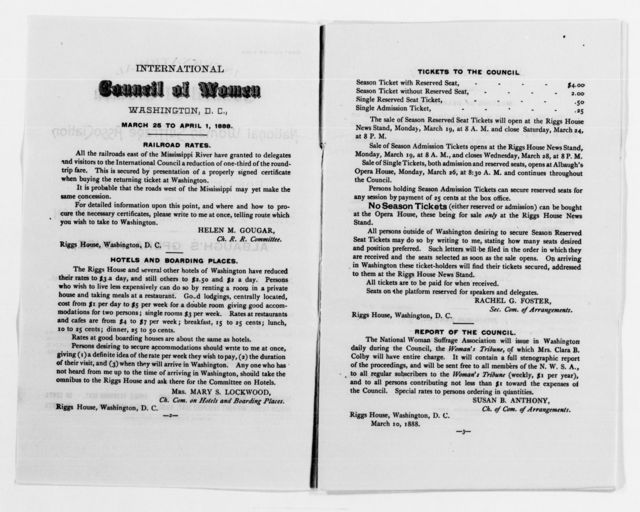 Clara Barton Papers: Subject File, 1861-1952; National American Woman Suffrage Association, 1879-1906, undated, Upton, Harriet Taylor
