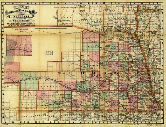 Cram's rail road and township map of Nebraska.