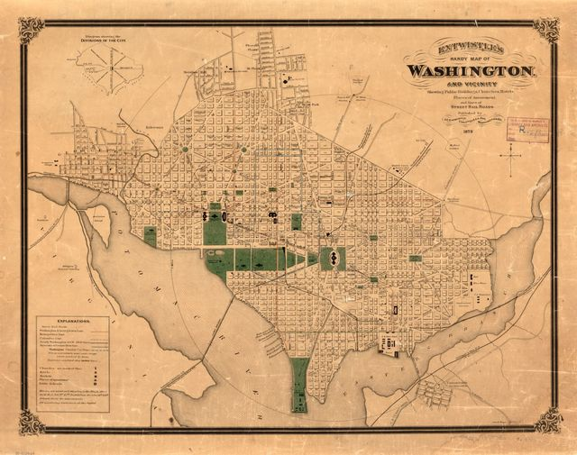 Entwistle's handy map of Washington and vicinity : showing public buildings, churches, hotels, places of amusement, and lines of street rail roads.