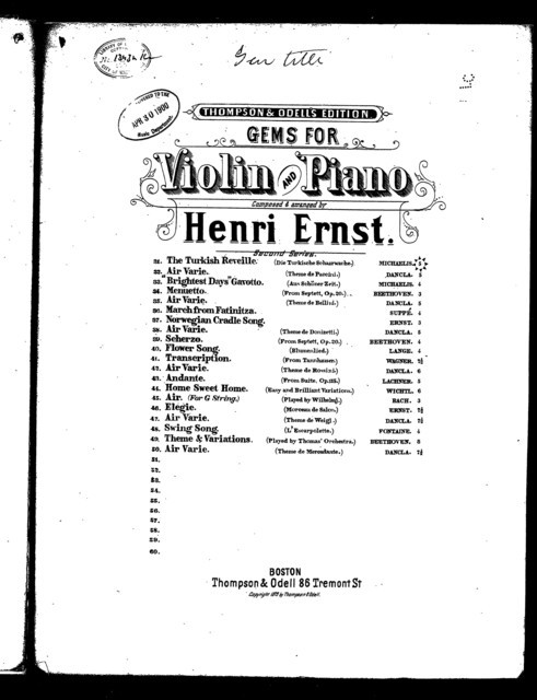 Gems for violin and piano [title page only]