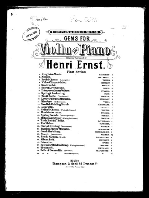 Gems for violin and piano [title page only] - PICRYL Public