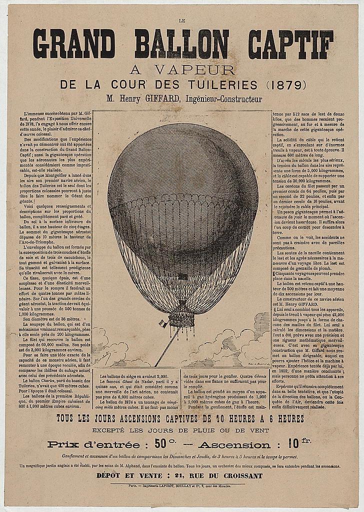 Le grand ballon captif a vapeur de la cour des Tuileries (1879), M. Henry Giffard, ingénieur-constructeur / Yves & Barret, sc.
