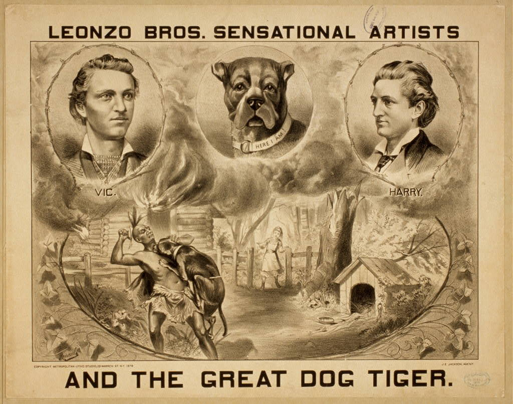 Leonzo Bros. sensational artists and the great dog, Tiger