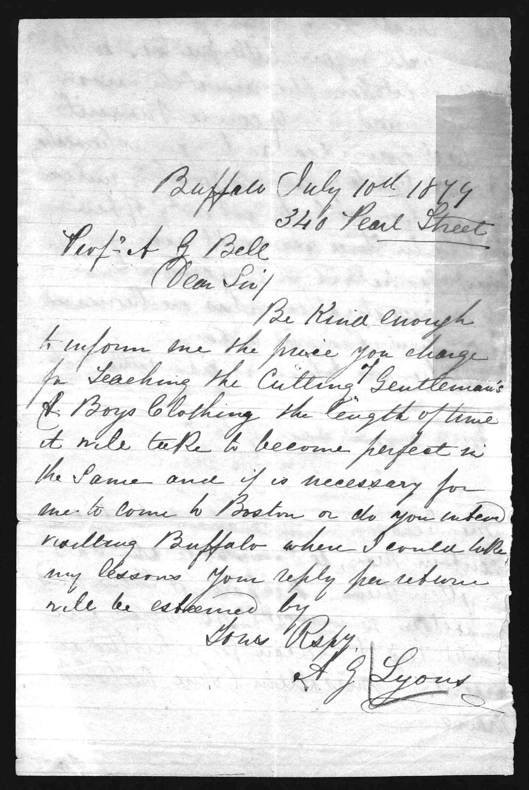Letter from A.G. Lyons to Alexander Graham Bell, August 10, 1879