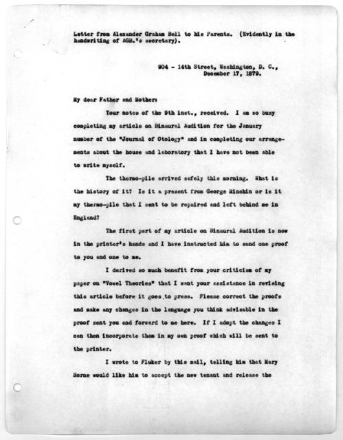 Letter from Alexander Graham Bell to Alexander Melville Bell and Eliza Symonds Bell, December 17, 1879